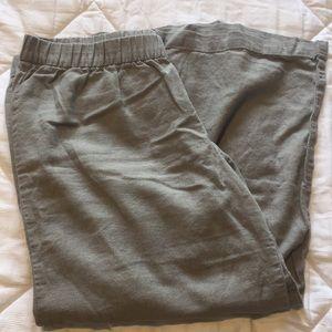 Linen crop legged pants